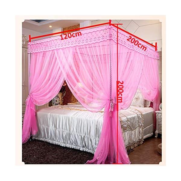ZXYSR Princess Palace Bed Zanzariera, 3 Aperture Elegante Letto Baldacchino Reticolato Tende per Letto Decorazione della… 4 spesavip