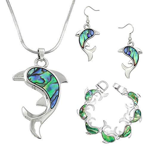 Lola Bella Gifts Abalone Dolphin Necklace Earrings and Bracelet Set w Gift Box ()