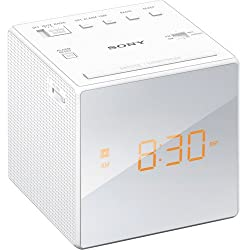 Sony Compact AM/FM Alarm Clock Radio with Easy to Read, Backlit LCD Display, Battery Back-Up, Adjustable Brightness Control, Programmable Sleep Timer, Daylights Savings Time Adjustment, White Finish