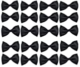 Glittermall  Solid Color Adjustable Boys Kids Bow Tie Collection - Black Color/20pcs