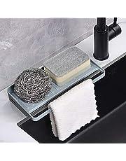YOHOM Sponge Holder Kitchen Sink Organizer Tray Counter Suction Cup Dishcloths Rag Hanger Soap Dispenser Scrubber Dishwashing Accessories Plastic Gray