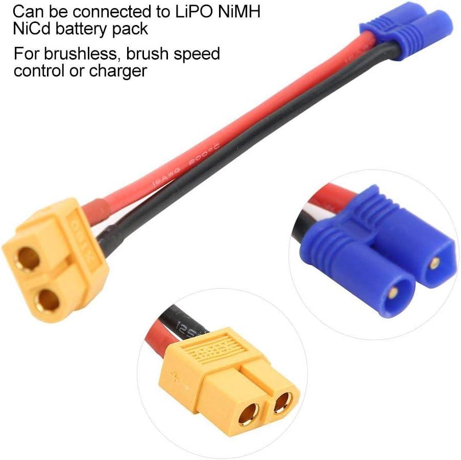 2X EC2 Stecker auf XT60 Buchse Adapterkabel Stabil für LiPO NiMH NiCd Akkupack