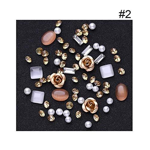 (Nails Art Accessories - Nail Art Rhinestones, Nail Rhinestones And Charms, 1Box 3D Rhinestones Diverse DIY Gems New Charming Mix Nail Decoration Rose Jewelry Gel Glitter Nail Decoration - champagne)