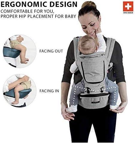 avec 9/positions de transport et design ergonomique avec protection pour les /également du enfant ou du nouveau-n/é Charcoal Grey miamily Hipster Plus Porte-b/éb/é Ventral