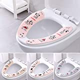 3 PCS Bathroom Toilet Seat Cover Sticker Closestool Lid Warmer Cartoon Adhesive Pads Washable Sticky Mat for Oval Round Toilet Seat (Multicolor)