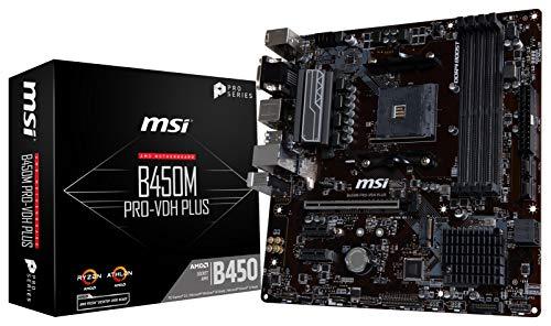 MSI ProSeries AMD Ryzen 1st and 2ND Gen AM4 M.2 USB 3 DDR4 D-Sub DVI HDMI Micro-ATX Motherboard (B450M PRO-VDH Plus) ()