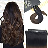 Sunny 20 inch Ombre One Piece Clip in Hair Extensions Human Hair with 5 clips Natural Black to Brown 70g One Piece Extensions 70G Per Pack