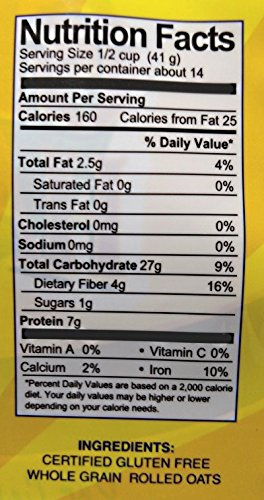 GF Harvest Gluten Free Certified Organic Rolled Oats, Non GMO, 20 oz Bag, Non-GMO, Certified Organic, 2 Count by GF Harvest (Image #2)