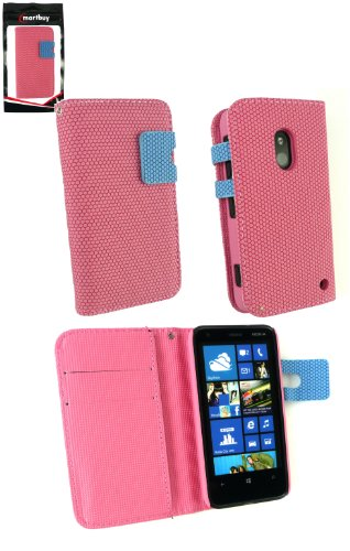 Emartbuy® Nokia Lumia 620 Píxeles Monedero Caso / Cubierta / Bolsa Rosa / Azul Con Las Ranuras Para Tarjetas De Crédito Y Protector De Pantalla