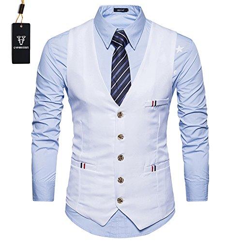 Cyparissus Men's Business Dress VestFormal Suit Vest Button Down Vest Waistcoat For Suit or Tuxedo (L, White (1 Waistcoat)