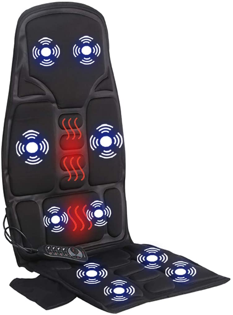 Car Seat Massager, Sotion Vibrating Back Massager for Car Chair Massage Cushion, 10 Vibrations to Relieve Stress and Fatigue for Back, Shoulder and Thighs