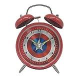 Wolf Warrior Novelty Superhero Analog Alarm Clock Silent Sweep Night Backlight Home Decoration Round Desk Metal Alarm Clock for Kids Children Gift
