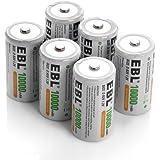EBL 10,000mAh D Cell D Size Performance Rechargeable Batteries, 6 Pack