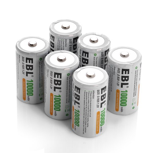 EBL D Battery D Size Rechargeable Batteries 10,000mAh Ni-MH, Pack of 6 - ProCyco Technology (Best D Cell Battery Charger)