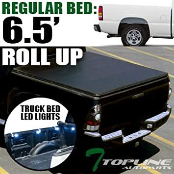 topline autopart lock & roll-up roll up soft truck topper cap tonneau cover  & 8 pods 16x white led lights + wiring