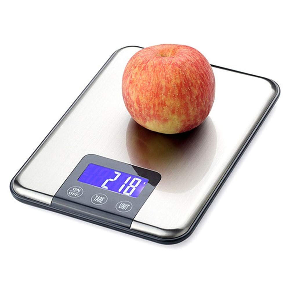 Digital Food Scale Weight Grams and Ounces, Businda Digital Scales Highly Accurate Kitchen Scales Stainless Steel Food Scale Balance Electronic Scale Touch button 5KG/1g With Back-Lit LCD Display