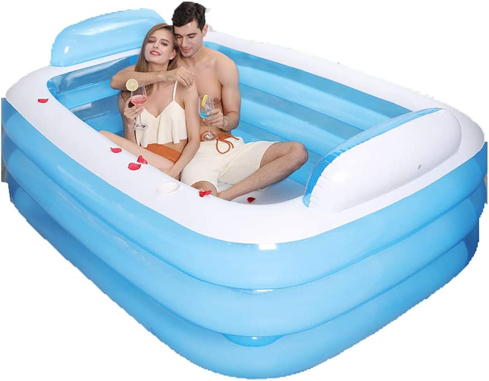 Double Folding Inflatable Bathtub Home Multi-Purpose Bucket Bath Barrel Three-Layer Thickening Backrest Size 150X 105X 55Cm (Sky Blue)