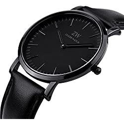 Zeiger New Mens Women Fashion Casual Business Black Dial Analog Quartz Watch with Leather Band ( Black)