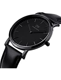 New Mens Women Fashion Casual Business Black Dial Analog Quartz Watch with Leather Band ( Black)