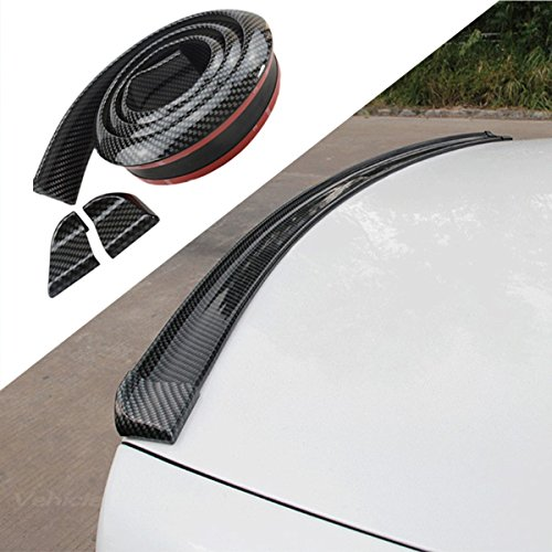 COOL·CAR 4.9ft (150cm) Universal Black Carbon Fiber Trunk Spoiler Lip Kit Car Rear Spoiler Exterior Rear Spoiler Kit Universal Fits for Most Cars Punch-Free Installation (Carbon Black long150cm) Carbon Fiber Roof Spoiler Wing