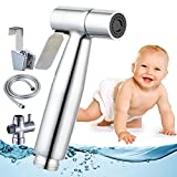 Cloth Diaper Toilet Sprayer Kit High Powered Hand Held Bidet Shattaf Brass Chrom Stainless Steel Hose T-Valve (7/8*) By