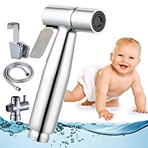"Cloth Diaper Toilet Sprayer Kit High Powered Hand Held Bidet Shattaf Brass Chrom Stainless Steel Hose T-Valve (7/8*) By ""Baby-Touch"""