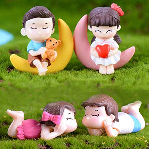 SweetGifts Miniature Couple Figurines Kiss Dolls Landscape Ornaments Mini Resin Fairy Garden Bonsai Dollhouse Decorations Romantic 4PCS