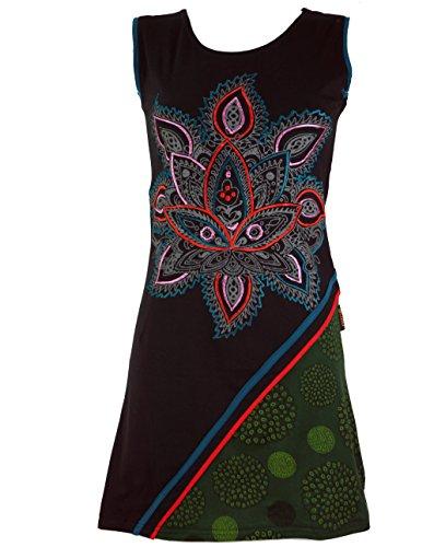 Schwarz Kleider Besticktes Bekleidung Chic Boho Minikleid Tunika Shop Alternative Lotus Baumwolle Damen Guru Kurze vHqwOO