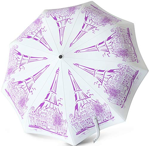 Windproof Travel Umbrella - Compact Auto Open Close - Water Repellent Teflon Coating - Rain, Snow, Sun Protection - Original Pattern Art Design (White Elegance)