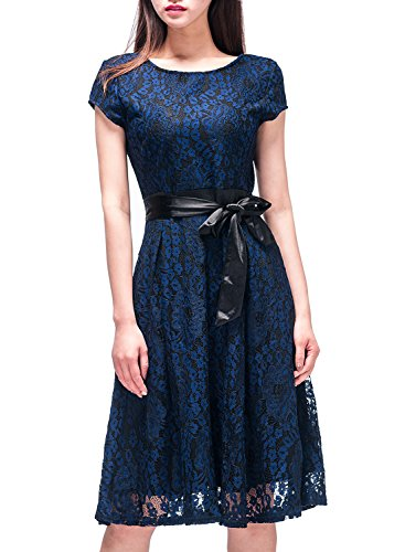 FFLMYUHULIU Women's Casual Bridesmaid Lace Floral Bow Evening Party Dresses(XL,Blue)