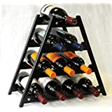 Wine Rack Wood -10 Bottles Hardwood Stand