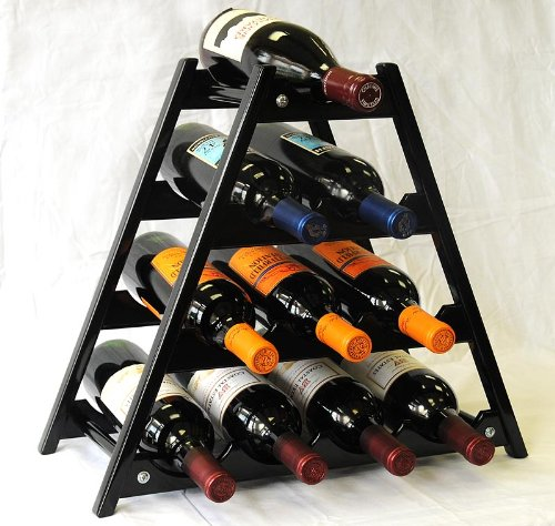 Wine Rack Wood -10 Bottles Hardwood Stand -Black ()