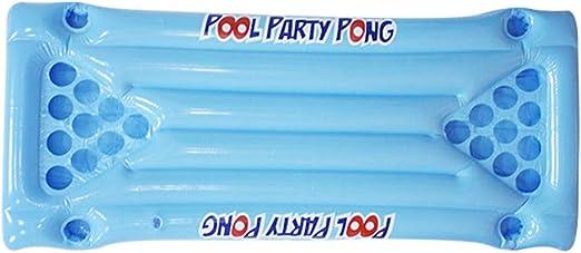 Beer Pong - Colchoneta hinchable de aire, para jugar a la piscina, color azul, con capacidad para 24 copas: Amazon.es: Hogar
