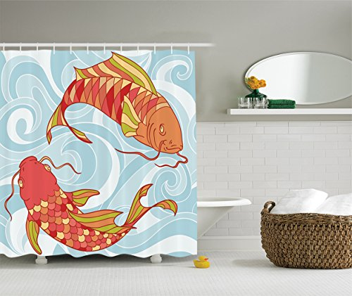 Ambesonne Colorful Fish Decor Collection, Hand Drawn Koi and Sea Waves Colorful Fish Oriental Deisgn, Polyester Fabric Bathroom Shower Curtain Set with Hooks, 84 Inches Extra Long, Orange Red Blue