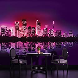 City Skyline at Night Purple Wallpaper Mural