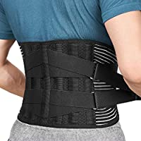 FREETOO Back Support Brace with 6 Support Stays, Breathable 16-Hole Mesh Lumbar Support Belt, Double Compression...