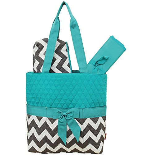 Grey & White Chevron Print 3pc. Diaper Bag (Aqua) by NGIL