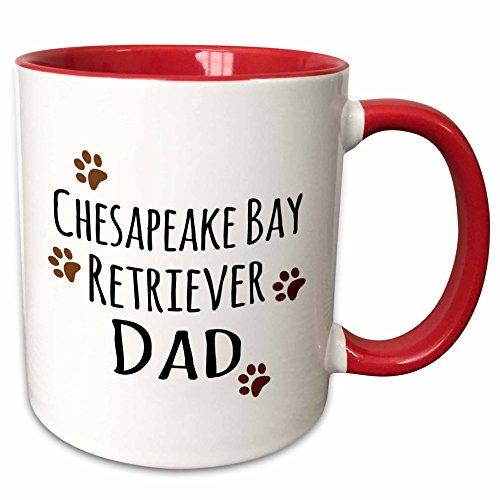 3dRose 153884_5 Chesapeake Bay Retriever Dog Dad - Doggie by breed - brown muddy paw prints Ceramic Mug, 11oz, Red/White