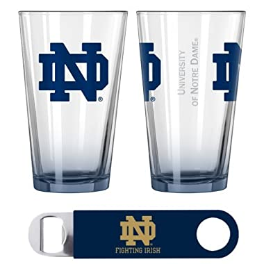 Notre Dame Elite Pint Glasses & Beer Opener Set | NCAA Fighting Irish Gift Set