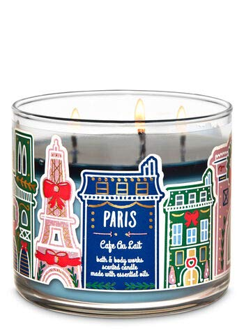 Bath and Body Works White Barn Paris Cafe Au Lait 3 Wick Candle 14.5 Ounce Coffee Candle