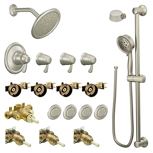 Moen KSPEX-HB-TS276BN 7-Inch Rainshower Vertical Spa Kit with Handheld Shower and Slide Bar, Brushed ()