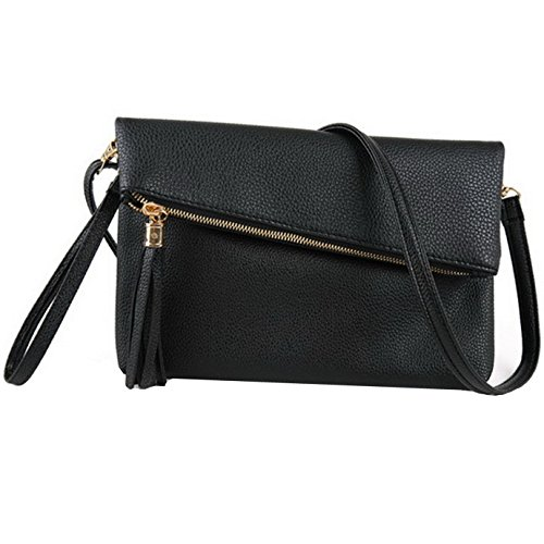 Orfila Foldover Clutch Bag Purse Womens Leather Evening Wristlet Handbag Shoulder Cross Body Bag with Tassel Black