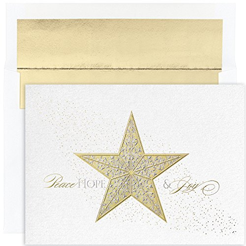 Masterpiece Holiday Collection 16-Count Christmas Cards with Foil Lined Envelopes, Shimmer Star - Great Papers Masterpiece Studios