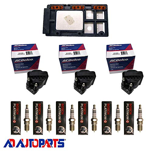 AD Auto Parts Coil Pack - Herko LX364 Ignition Control Module + 3 OEM BS3006 Ignition Coils + 6 4304 Spark Plugs - Grand Prix Oem Parts