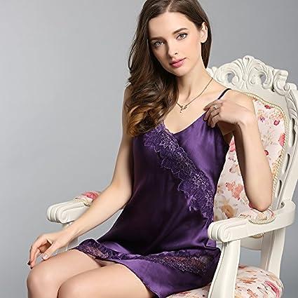 WXIN /Seda Pijama Mujer Delgada /Lace /Seda Seda Tirantes Dormir Tracksuits/ L