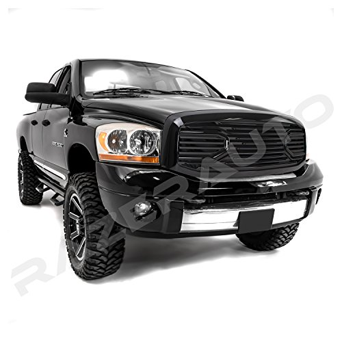 Razer Auto Gloss Black Big Horn Complete Grille Factory Replacement Grille w/Shell (Black) for 2006-2008 Dodge RAM 1500, 2006-2009 Dodge RAM 2500/3500