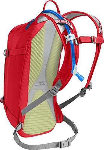 CamelBak M.U.L.E. Mountain Biking Hydration Pack - 20 Percent More Water Per Sip - Easy Refilling - Magnetic Tube Trap - 100 Ounce - Racing Red/Pitch Blue