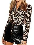 Glamaker Women's Casual Long Sleeve V Neck Button Down Print Chiffon Office Blouse Shirt Tops Khaki