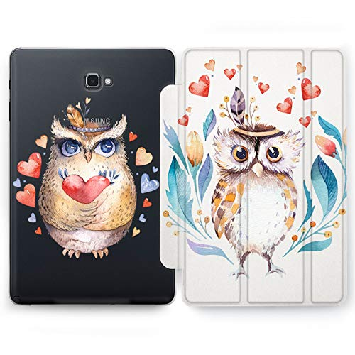 Wonder Wild Owl Love Samsung Galaxy Tab S4 S2 S3 A E Smart Stand Case 2015 2016 2017 2018 Tablet Cover 8 9.6 9.7 10 10.1 10.5 Inch Clear Design Cute Birds Indian Head Bandage Couple Adorable Girly]()