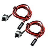 ATX Motherboard Power Momentary Push Button Switch Cable 45cm 2Pcs
